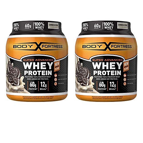 Body Fortress Super Advanced Whey Protein Powder, Cookies N' Cream, 2 lbs - 2 pack