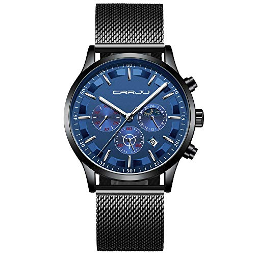 (CRRJU Men Mesh Watch Men Business Chronograph Quartz Wrist Watch Waterproof Sport Clock Black Blue)