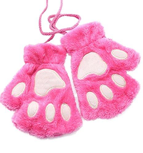 Cat Paw Gloves Fingerless Girl Winter, Lowprofile Women Girls Half Finger Gloves Plus Velvet Thick Flip Keep Warm Gloves (Hot Pink)]()