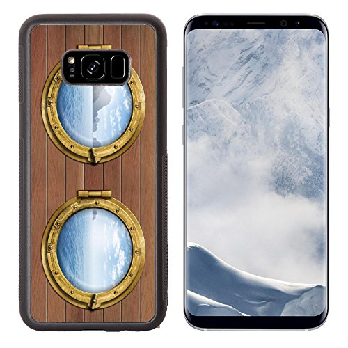 Liili Premium Samsung Galaxy S8 Plus Aluminum Backplate Bumper Snap Case ID: 26962004 two ship windows or portholes with sea or ocean with tropical island Travel and andventure (Concept Two Premium Boat)
