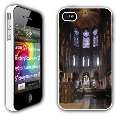 iPhone 4/4s Case - Notre Dame Cathedral (Inside View) - White Protective Hard Case (Notre Dame Iphone 4 Case)