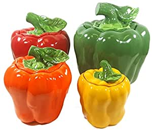 BELL PEPPER 3-D Canisters Set of 4 ^NEW^ Canister