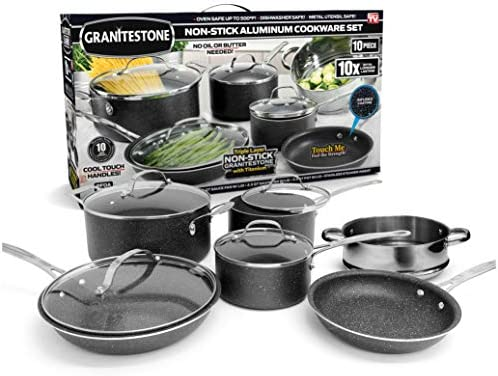 GRANITESTONE 10-Piece Nonstick Cookware Set, Scratch-Resistant, Granite-coated Anodized Aluminum, Dishwasher-Safe, PFOA-Free As Seen On TV