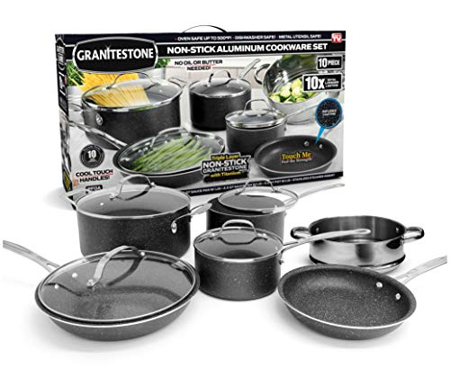 (GRANITESTONE 10 Piece Cookware Set, Scratch-Proof, Nonstick Granite-coated, PFOA-Free As Seen On TV)