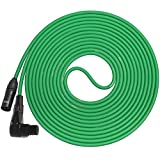 LyxPro LCS Premium Series 25ft Right-Angle XLR Microphone Cable for Professional Microphones and Devices, Green