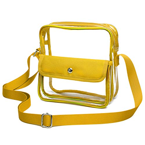 iSPECLE Clear Purse, Clear Stadium Bag Approved for NFL, PGA, NCAA, Adjustable 4.92ft Shoulder Strap for Women Girl Yellow ()