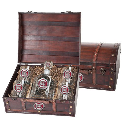 South Carolina Gamecocks Capitol Decanter Wood Chest Set by Heritage Pewter