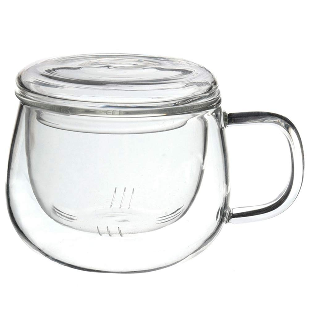 Hot Sale 3 In 1 Set Clear Heat Resistant Tea Coffee Cup With Tea Infuser Filter Lid Use For Home Office 201-300ml
