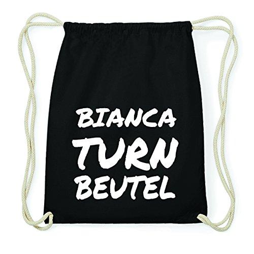 JOllify BIANCA Hipster Turnbeutel Tasche Rucksack aus Baumwolle - Farbe: schwarz Design: Turnbeutel