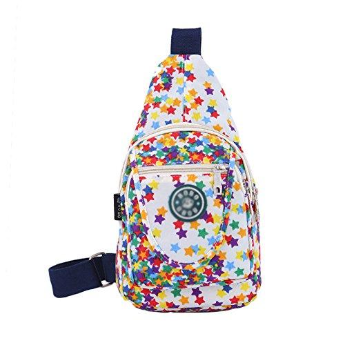 KARRESLY Women Outdoor Sports Casual Nylon Unbalance Backpack Crossbody Sling Bag Shoulder Bag Chest Bag(White)