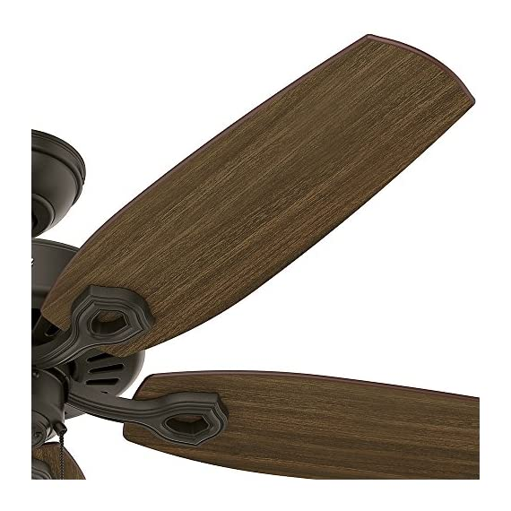 "Hunter builder elite indoor ceiling fan with pull chain control, 52"", new bronze 4 classic ceiling fan: the traditional builder elite traditional fan comes with harvest mahogany reversible blades that will keep home interior and exterior current and inspired; measures 52 x 52 x 11. 27 inch multi-speed reversible fan motor: whisper wind motor delivers ultra-powerful airflow with quiet performance; change the direction from downdraft mode during the summer to updraft mode during the winter pull chain control: turn the bronze ceiling fan on/off and adjust the speed quickly and easily with the pull chains"
