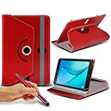 N4U Online - Red Tablet Luxury 360° Rotating PU Leather Wallet Spring Stand Skin Case Cover & Touchscreen Stylus Pen For HP Pavilion x2 Tablet