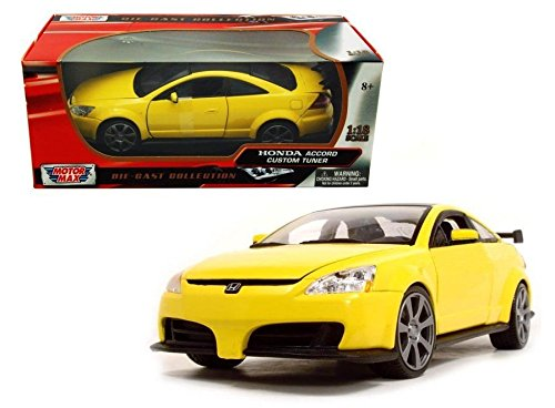 AX COLLECTION - YELLOW 2003 HONDA ACCORD CUSTOM TUNER Diecast Model Car By MOTOR MAX (Accord Collection)