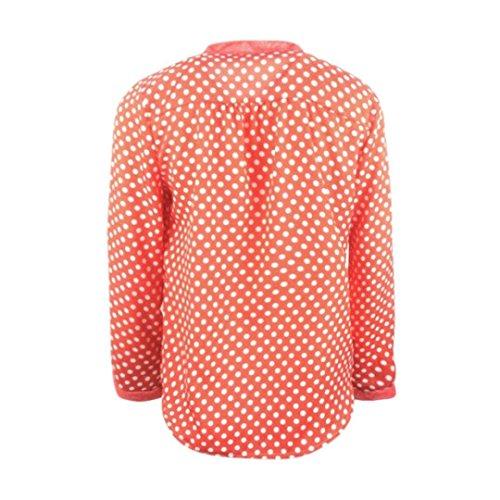 À Femmes Manches Haut De Top Orange Mousseline Longues Col Blouse En Soie Pour Chemise Décontracté V 5pzExzwq4