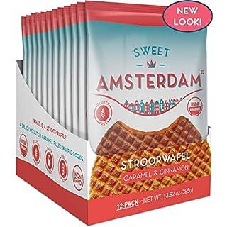 Sweet Amsterdam Stroopwafel | Waffles meet Cookies | Gluten & Dairy Free Snacks | Gluten Free Cookies, Gluten Free Waffles, Waffle, Cookie, Biscuits & Wafer Snacks | Caramel & Cinnamon | 12-PACK