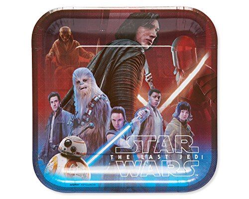 Price comparison product image American Greetings Star Wars: the Last Jedi 8 Dinner Square Large Party Plates, Lunch Plates, 8-Count
