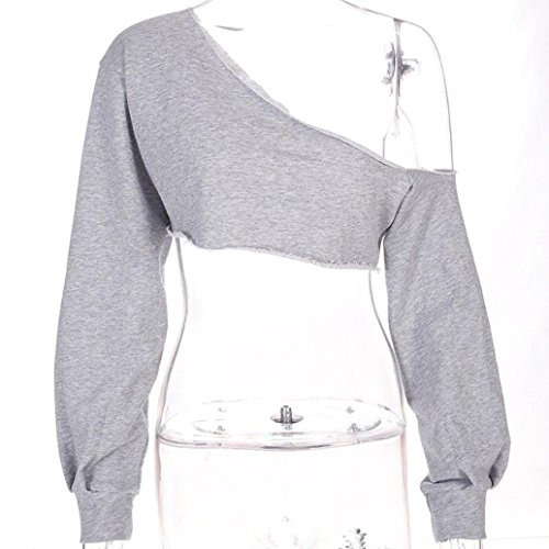 T Chic Femme Pull Femme Femme Hiver Sweatshirt Shirt T Chemise Capuche Shirt T Coton en Automne MVPKK Femme Shirt Tops Sexy T Nues Shirt Pull paules Blouse Gris Point 78ZRSpnqw