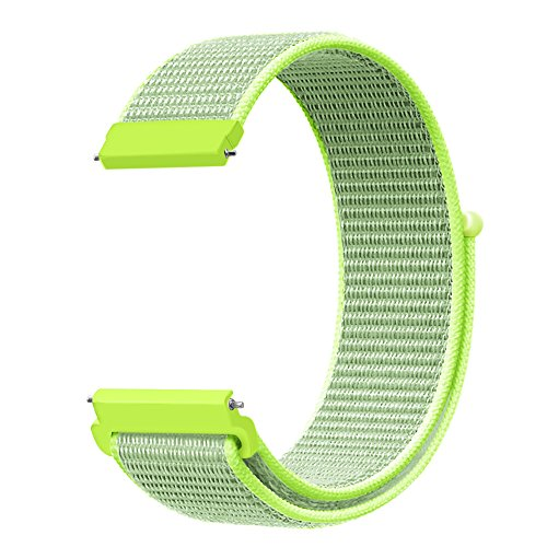 Fintie Band for Galaxy Watch 42mm & Gear Sport & Gear S2 Classic, 20mm Quick Release Nylon Sport Loop Smartwatch Replacement Strap Bands with Adjustable Closure - Flash Light