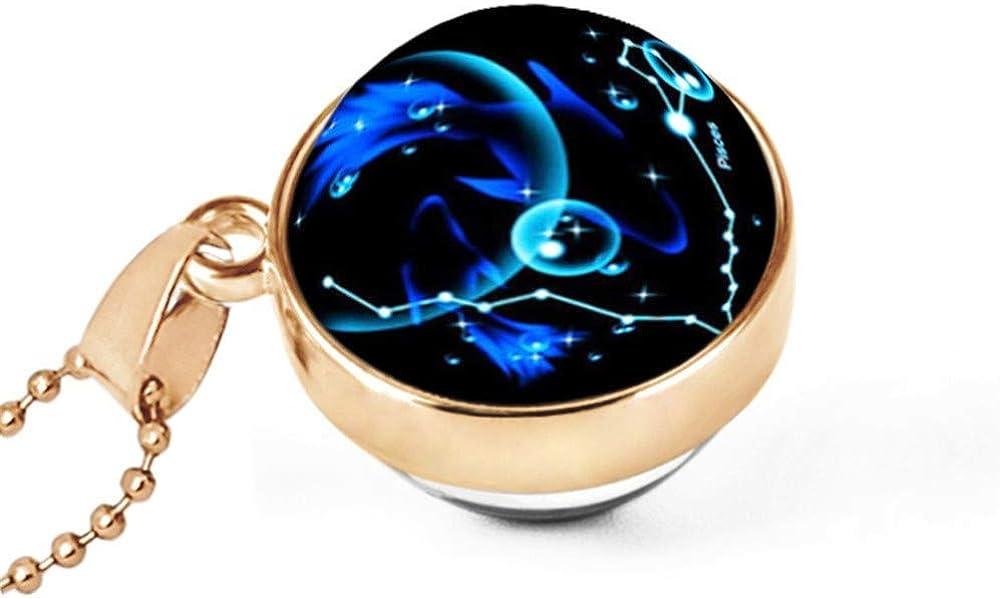 MXWY Collar Joyería Hemisferio De Doble Cara Tiempo Piedra Preciosa Colgante Doce Constelaciones Constelación De Estrellas Daquan