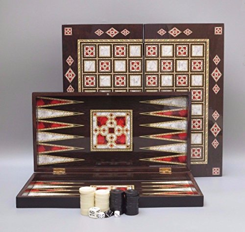 "PEARL DESIGN 19/"" WOODEN BOARD TRAVEL GAME BACKGAMMON SET"