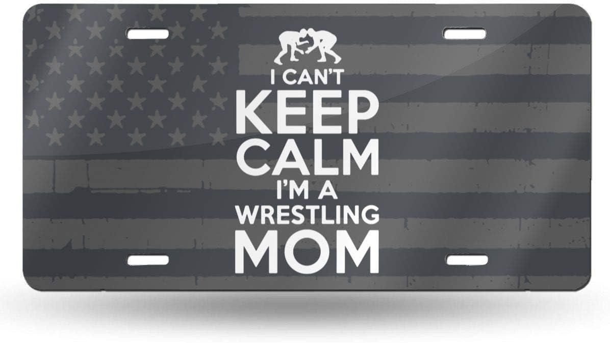 MYGED No Puedo Mantener la Calma Soy una mamá luchadora Vanidad de Metal a Prueba de Agua Placa de matrícula automática Placa de Metal para automóvil, Placa de Aluminio de Novedad, 6 x 12 Pulgadas