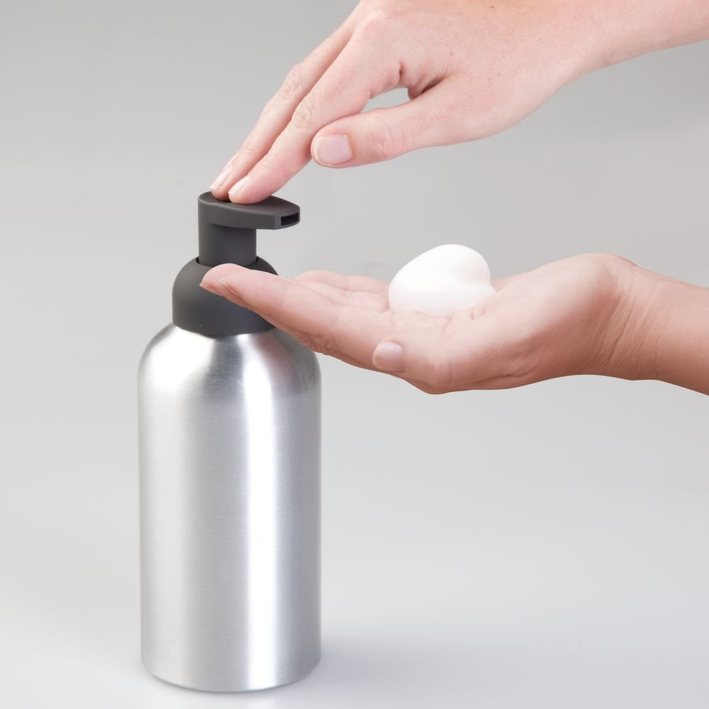 InterDesign Metro Aluminum Foaming Soap Dispenser Pump for Kitchen or Bathroom Vanity Brushed//Matte Charcoal 50057