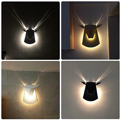 Nordic Postmodern Ngau Tau Deer Head Decoration Wall Lamp Study Bedroom LED Aluminum Alloy Wall Light Bedside Restaurant Aisle Cafe Lighting (including light source) ( Color : Gold ) by CHUANGCHUANG (Image #3)'