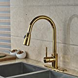 Brushed Gold Kitchen Faucet Senlesen Pull Out Kitchen Faucet Vessel Sink Mixer Tap Golden Brass with Cover Plate