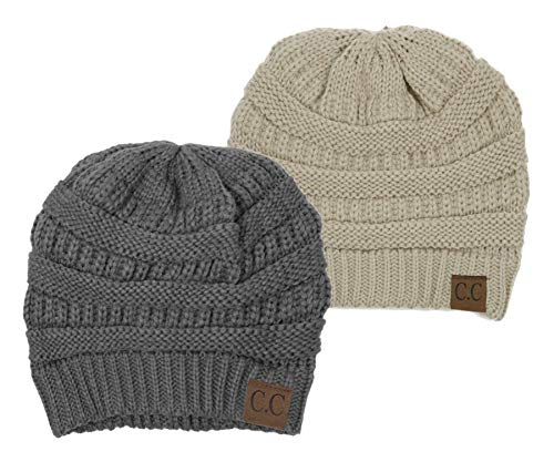 - H-6020a-2-5160 Solid Beanie Bundle - Heather Grey & Beige (2 Pack)