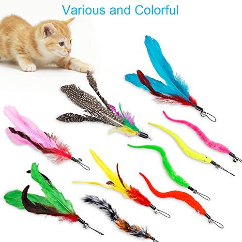 JIARON Feather Teaser Cat Toy, 2PCS Retractable Cat Wand Toys and 10PCS Replacement Teaser with Bell Refills, Interactive Catcher Teaser and Funny Exercise for Kitten or Cats. 7