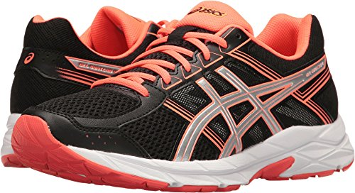 ASICS Women's Gel-Contend 4 Running Shoe, Black/Silver/Flash Coral, 12 M US (Coral Silver)