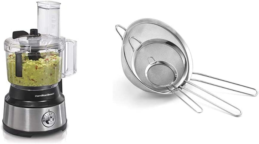 Hamilton Beach 10-Cup Food Processor & Vegetable Chopper with Bowl Scraper, Stainless Steel (70730) & Cuisinart CTG-00-3MS Set of 3 Fine Mesh Stainless Steel Strainers