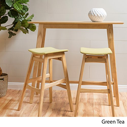 Christopher Knight Home 299264 Ethel Green Tea Fabric/Natural Oak Finish Rectangular 3 Piece Bar Set,