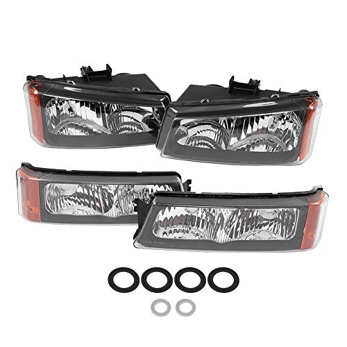 4 Pcs Headlight w/Front Park Signal Marker Lamps Bumper Light Replacement for Chevrolet Avalanche Silverado Pickup Truck 1500 2500 HD 3500 Classic2003-2006 10366037 15199556