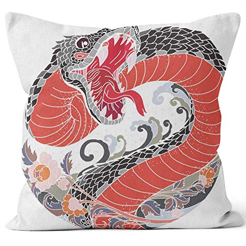 Tattoo Design Snake with Line Thai Flower Throw Pillow Cover,HD Printing for Sofa Couch Car Bedroom Living Room Decor,36