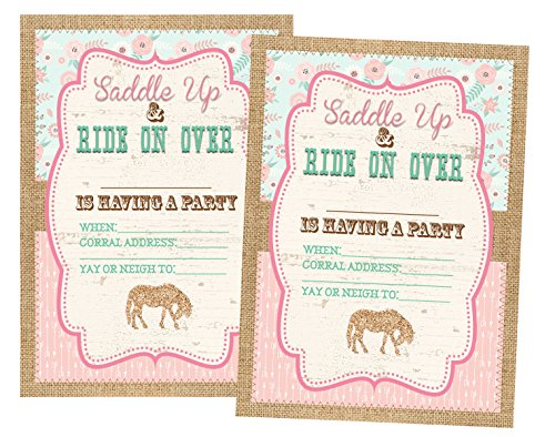 Pony Party Decorations Invitations and Supply Kit Horse (Invitations) 12 Invites and Envelopes Included]()