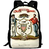 ZQBAAD Wisconsin State Coat Of Arms Luxury Print Men And Women's Travel Knapsack