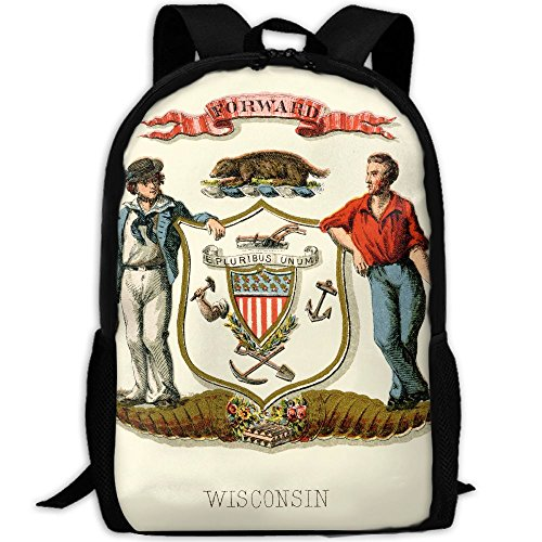 ZQBAAD Wisconsin State Coat Of Arms Luxury Print Men And Women's Travel Knapsack by ZQBAAD