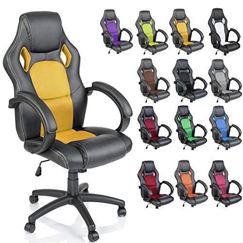 TRESKO Silla giratoria de oficina Sillon de escritorio Racing disponible en 14 colores, bicolor, silla Gaming ergonomica, cilindro neumatico certificado por SGS (Negro/Amarillo)