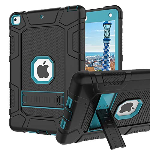 (iPad 6th Generation Cases, iPad 2018 Case, iPad 9.7 Inch Case,Hybrid Shockproof Rugged Drop Protection Cover Built with Kickstand iPad 9.7 inch A1893/A1954/A1822,/A1823 (Blue))