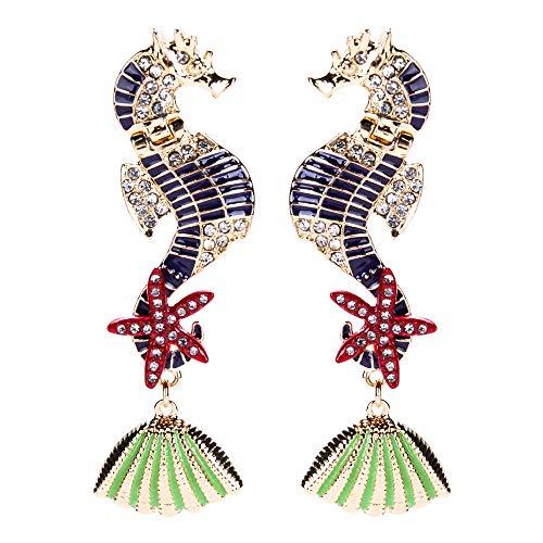 l Sea Horse Seastar Earring Charming Crystal Conch Drop Earrings Women Girls Gift (Purple) ()