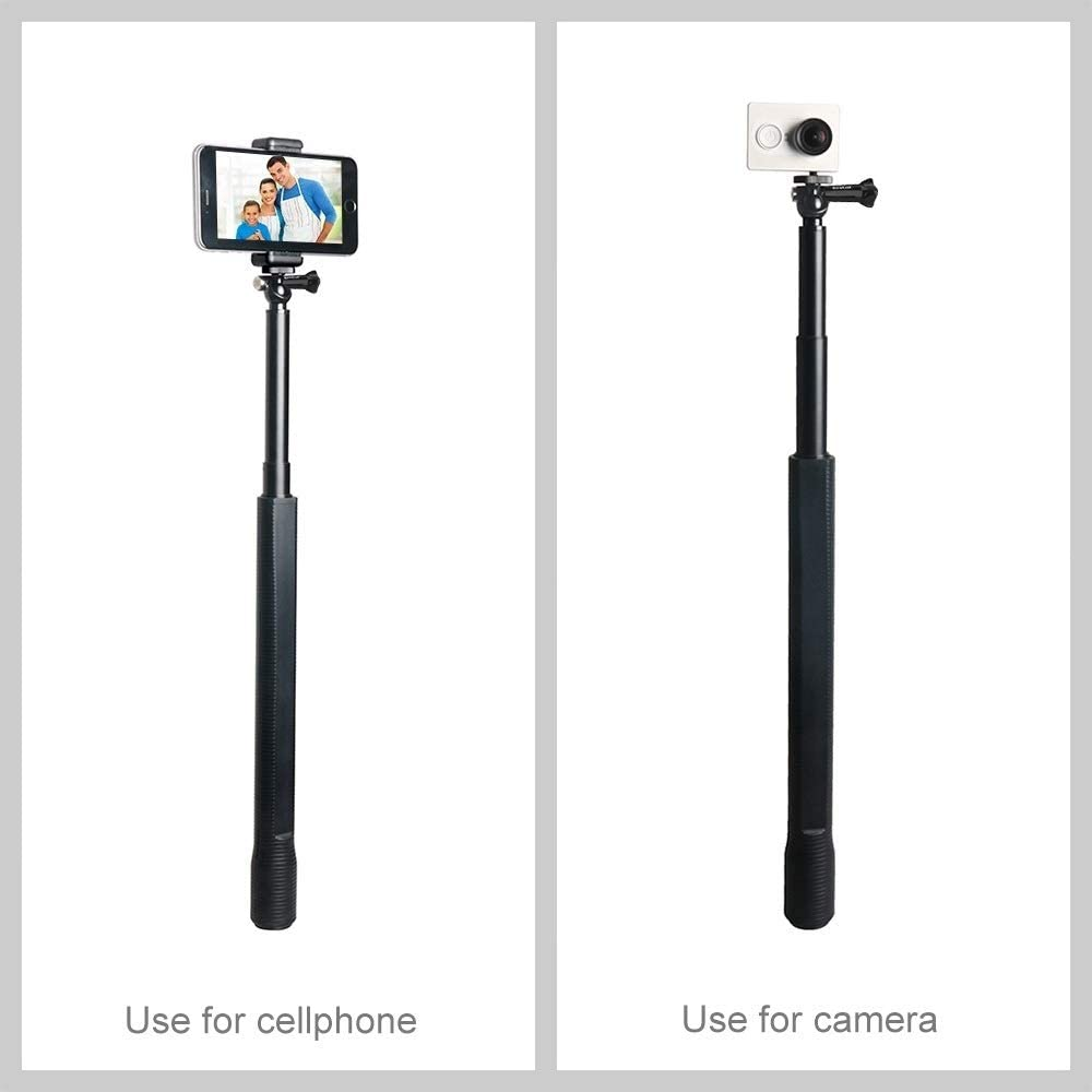 GoPro NEW HERO //HERO7 Waterproof Aluminum Alloy Extendable Handheld Selfie Stick Monopod with Quick Release Base /& Long Screw /& Lanyard for DJI New Action 6 //5 //5 Session //4 Session //4 //3 //3 //2 //1