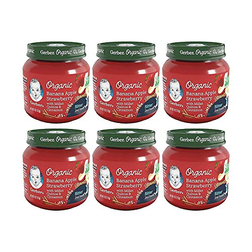 Gerber 2nd Foods Baby Food Jars, Organic Banana Apple Strawberry with Millet & Quinoa, 4 Ounce, Pack of 6