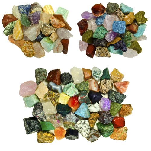 Fantasia Materials: 3 lb Premium World Stone Mix (Largest Variety ON Amazon) from Asia, Brazil and Madagascar! Bulk Rough Raw Natural Crystals & Rocks for Tumbling, Polishing, Wire Wrapping, Reiki ()