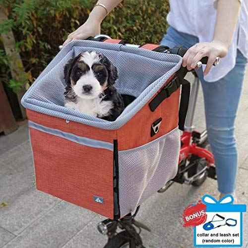 RAYMACE Dog Bike Basket Bag Pet Carrier Backpack for Puppy or Small Breeds Travel with Your Pet Safety