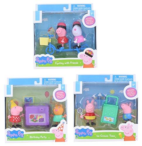 """Peppa Pig 3"""" Mini Figure 2-Packs Set of 3"""