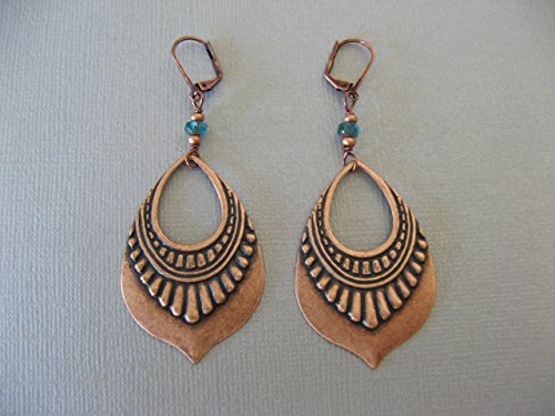 (Czech Glass Copper Plated Earrings Dangling Ornamental Drop Boho Artisan Jewelry)