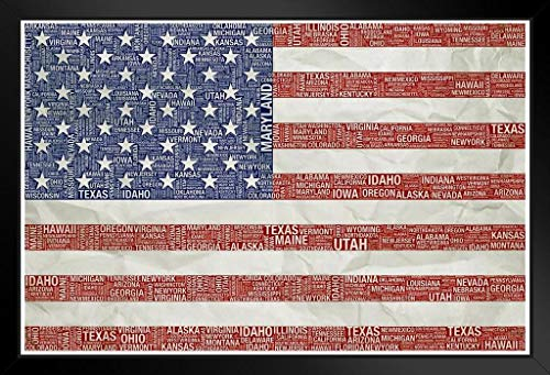 Poster Foundry Words USA Flag Distressed Black Wood Eco Framed Print 9x13 (The Star Spangled Banner In Modern Words)