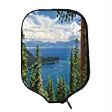 YOLIYANA Lake House Decor Durable Racket Cover,Aerial Image of Majestic Asian Lake Above Trees and Mountain in The Horizon Art for Sandbeach,One Size