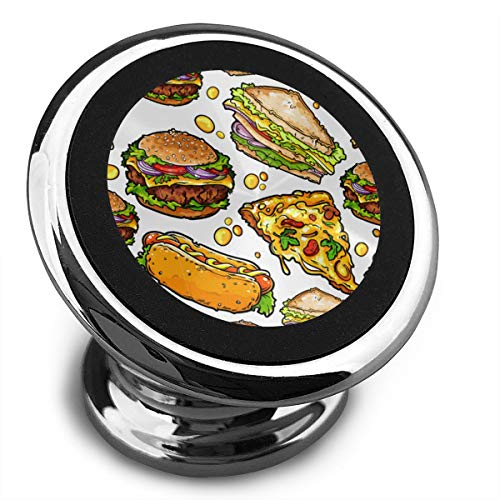 FISHISOK Magnetic Car Phone Mount Holder Hamburger Pizza Hot Dog Deluxe Car Mobile Bracket 360 Degrees Rotation from Dashboard Compatible with iPhone -